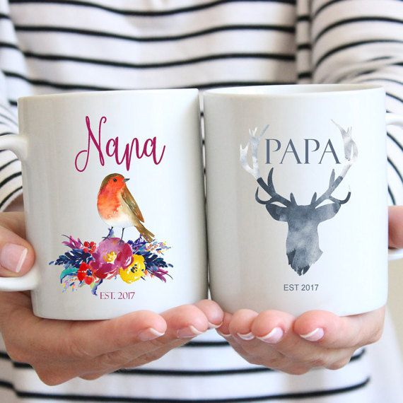 Pregnancy Announcement Mugs, Grandma Mug, Grandpa Mug, Mug Set, Grandparent Mug, Grandmother Mug, Grandfather Mug, Robin Bird Mug, Deer Mugs