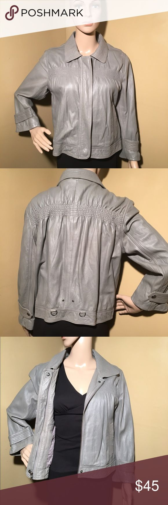 Loft Ann Taylor gray leather jacket size 10 **offers accepted **This is a leather jacket by Loft Ann Taylor. It's a size 10. 100% genuine leather. Please look at measurement pictures that I posted. This jacket is great paired with any outfit. LOFT Jackets & Coats