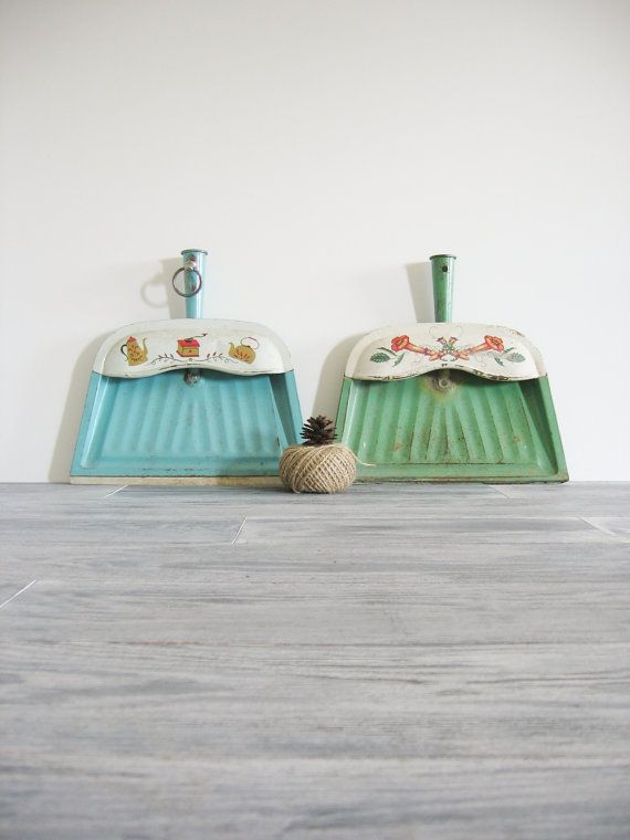 Vintage Metal Dust Pans Retro 1960's Kitchen Decor by CocoAndBear, $32.00
