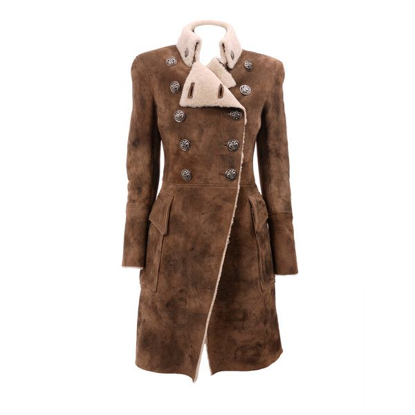 BALMAIN Coat (1.941.760 CLP) ❤ liked on Polyvore featuring outerwear, coats, jackets, balmain, coats & jackets, women, trench coats, balmain coat, brown trench coat and brown coat
