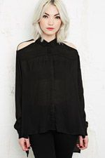 Silence + Noise Cold Shoulder Long Sleeve Blouse at Urban Outfitters