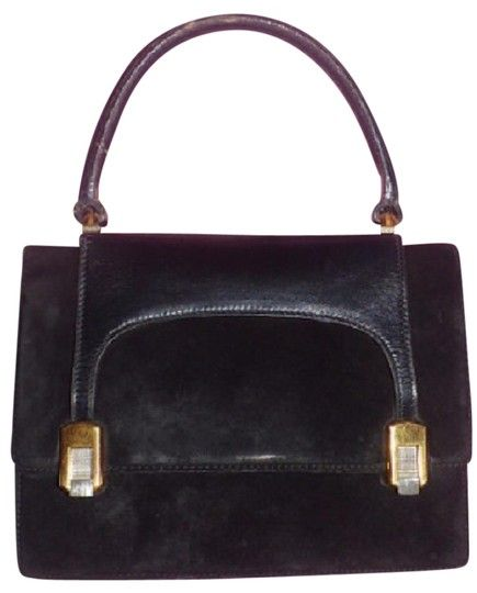 7bce3381946 Gucci True 1960 s Mod Early Two-tone Hardware Kelly Style Hard   Boxy Shape  Satchel in black suede and leather