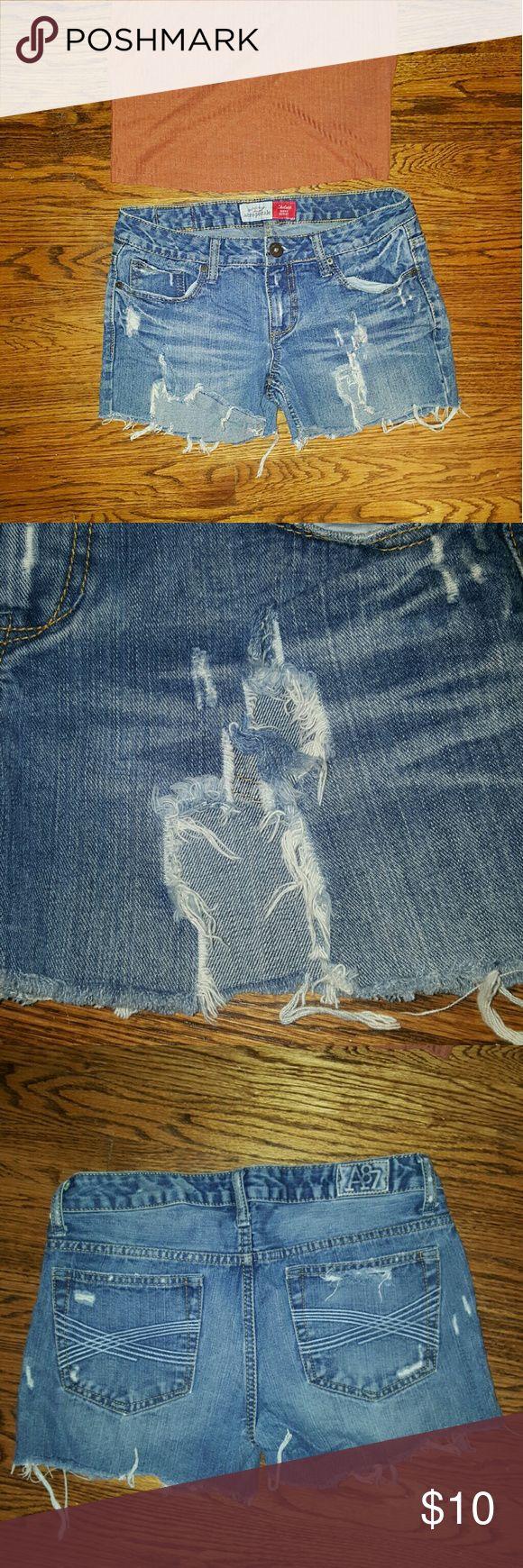 Distressed Cutoff Jean Shorts Aeropostale Distressed Cutoff Jean Shorts, low rise, medium wash, high cut up the leg, size 5/6 regular Aeropostale Shorts Jean Shorts