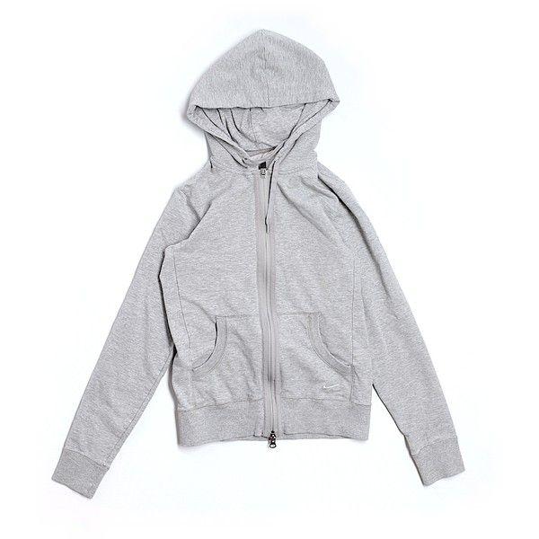 Pre-owned Nike Zip Up Hoodie ($19) ❤ liked on Polyvore featuring tops, hoodies, grey, gray hoodie, grey zip up hoodie, nike tops, gray hooded sweatshirt and nike hoodie