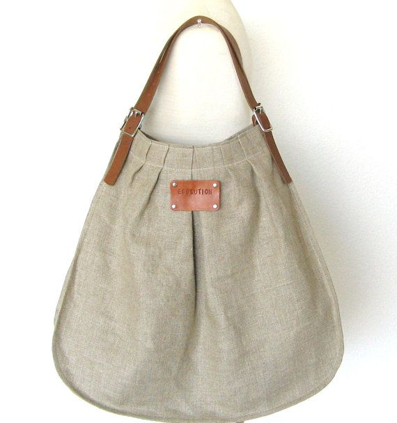 Personalized French Linen Bag - Leather handles- Unique. Handmade. Sand color