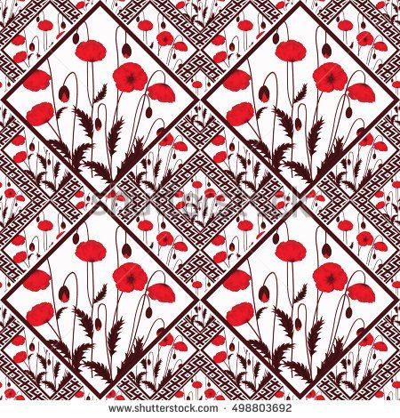 Patchwork abstract seamless floral, pattern texture light background with decorative elements. delicate flowers.red poppies.