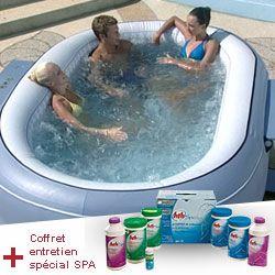 Spa gonflable Lay-Z-Spa ovale pour 4/6 adultes BESTWAY + Coffret entretien spécial SPA