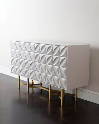 Perfekt White Modern Petal Design With Bronze Finish Stand. John Richard Collection  Barrington Console