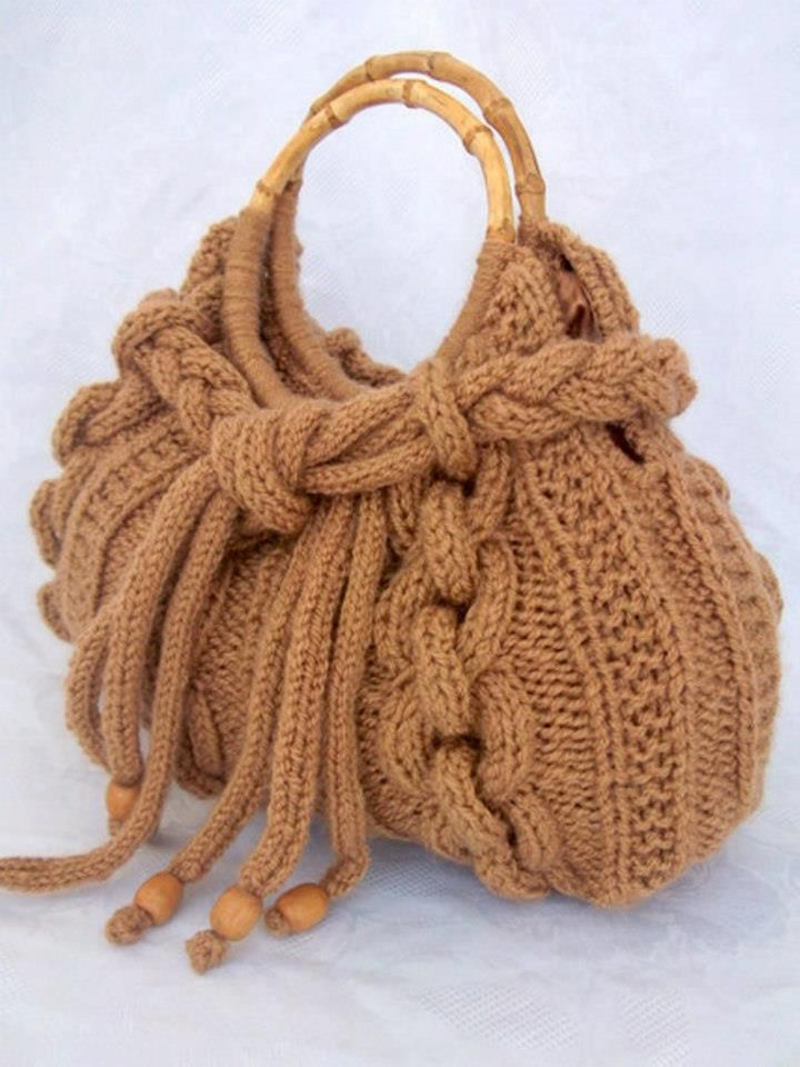 Knitted cable stitch bag