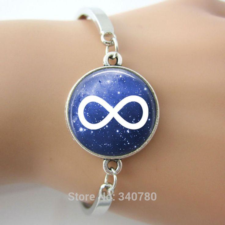 Бесконечность шарм браслеты браслеты, бесконечность ювелирные изделия, стеклянный купол Шарм браслеты космические звезды Круглый сплава браслеты браслеты