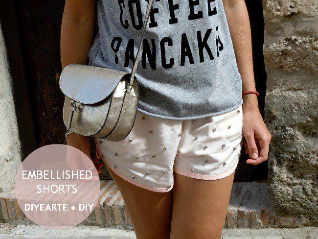 embellished shorts diy shorts con brillantes summer