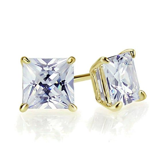 2Ct Princess Cut Yellow Diamond Cluster Stud Earring Solid 14K White Gold Finish