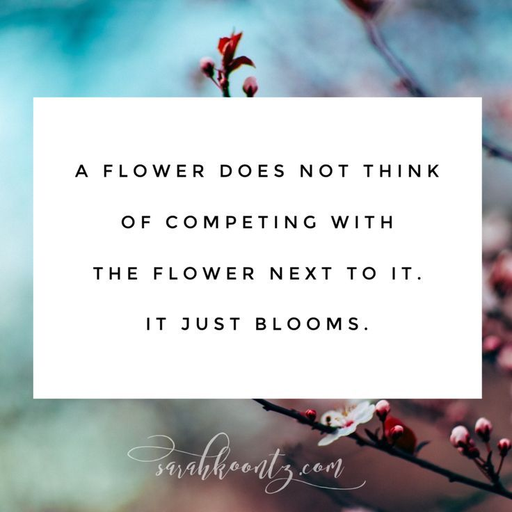 A flower does not think of competing with the flower next to it. It just blooms. | Free Quote Graphics at http://SarahKoontz.com