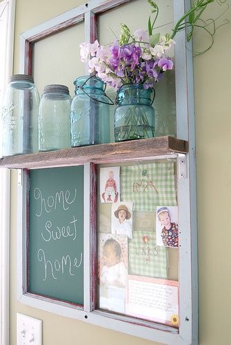ok this is the last mason jar post (for today) seriously though, isnt this a brilliant idea? Take an old window frame, turn it into a shelf/chalk board/photo board/ and vintage mason jar display?!  genius! I WILL do this once I get my own place! I already have the vintage blue mason jars, and I know my Dad can easily get me an old window frame/chalk board from work.  score!