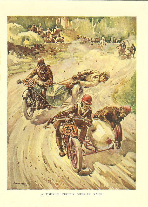 1920s Original Motorcycle Print Motorbike And Sidecar