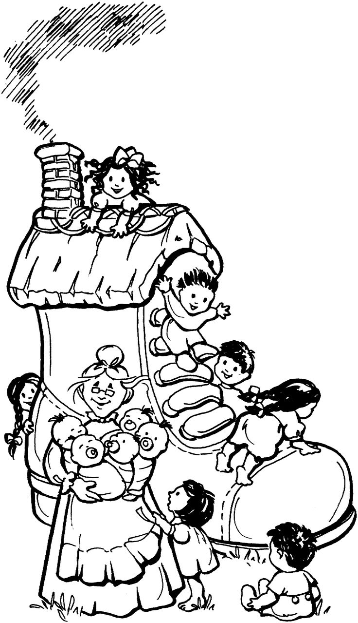Free Printable Coloring Page...Mother Goose, Nursery Rhymes, The Old Woman Who Lived in a Shoe....image and rhyme