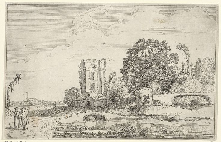 Jan van de Velde (II) | Landschap met de toren van het Huis ter Kleef te Haarlem, Jan van de Velde (II), 1616 | Gezicht op de toren van het Huis ter Kleef, te Haarlem. Links twee figuren op een pad. Tweeëntwintigste prent van een serie van in totaal 52 prenten met landschappen, verdeeld over twee delen van elk 26 prenten.