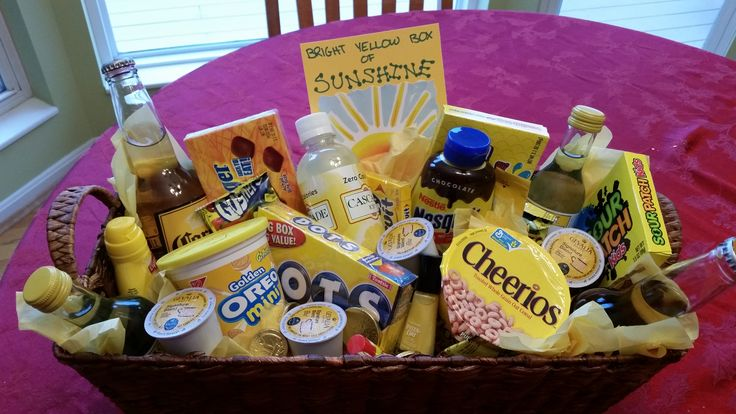 Sympathy/Cheer gift basket - filled a basket with yellow things, added a card and delivered it to a family feeling blue after the death of a loved one.