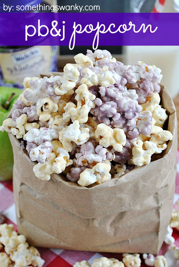 #PB&J #Popcorn is SO GOOD, easy to make, and totally addictive! from www.somethingswanky.com