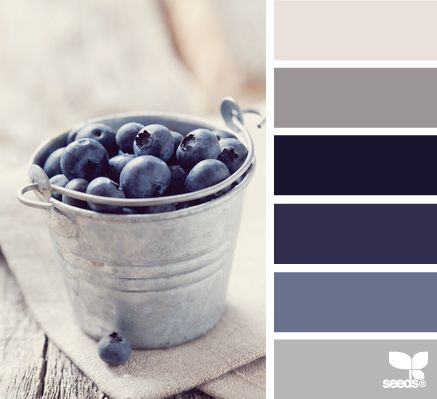 This color palette would be gorgeous for a classy and restful bedroom. For a more classic look use the greys on the walls. For added drama use one of the blues on the walls.