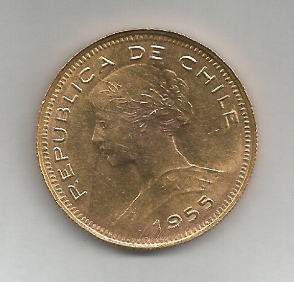 MOEDA DE OURO DO CHILE - 100 PESOS - 1955 - SOBERBA