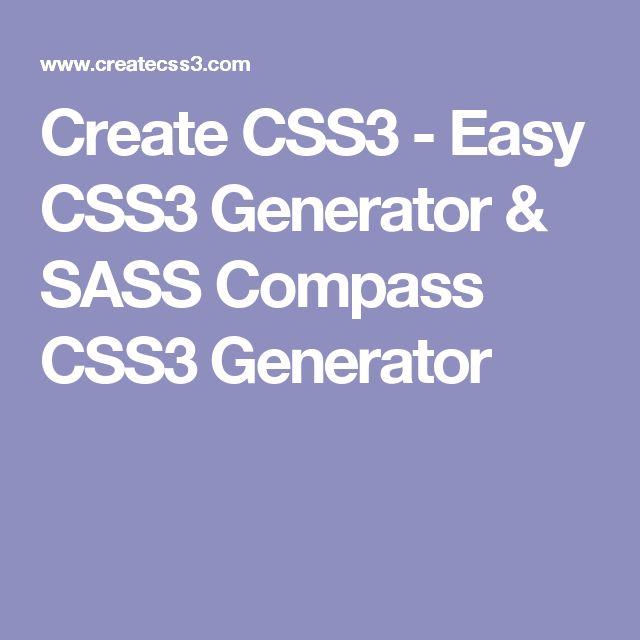 Create CSS3 - Easy CSS3 Generator & SASS Compass CSS3 Generator