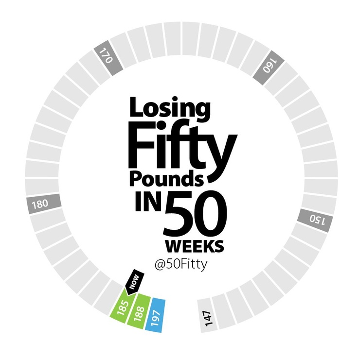 Infographic of my 50 weeks to lose 50 pounds challenge