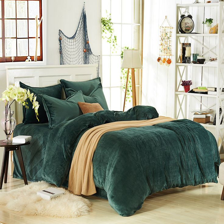 Dark Green Flannel Bedding Winter Bedding In 2020 Dark