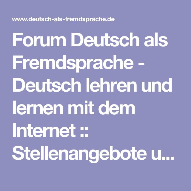 Forum Deutsch als Fremdsprache - Deutsch lehren und lernen mit dem ...