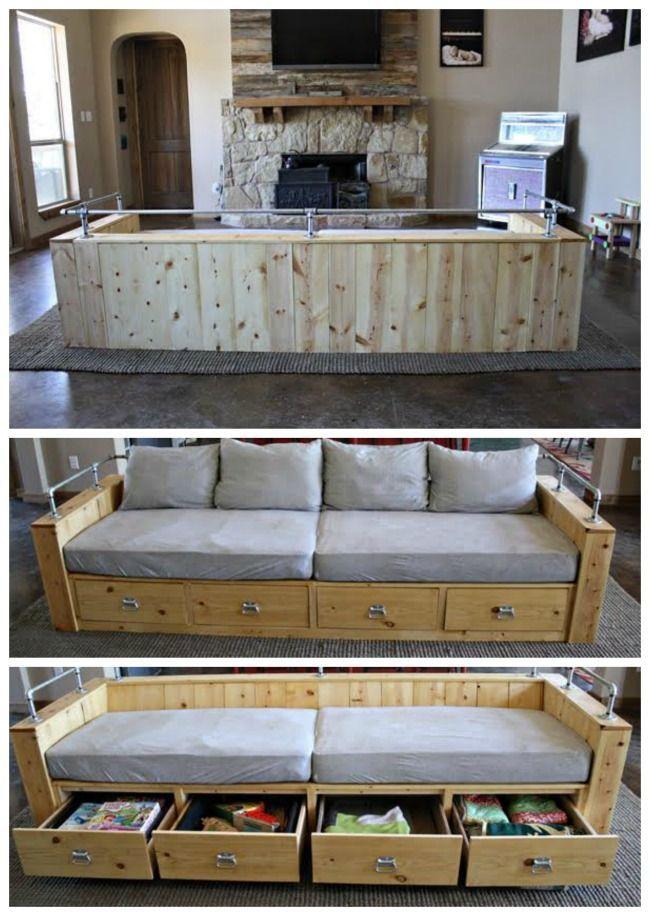 Modern Wood Storage Sofa Diy Storage Couch Diy Furniture Couch