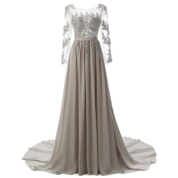 Women's New Long Evening Dresses Chiffon Lace A