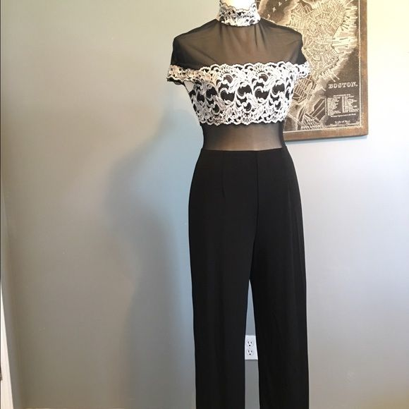 Cache sheer/lace formal jumpsuit - Sz 12 Unique formal jumpsuit with lace bust/collar/sleeve and drapey pant. Fits Sz 10/12. Cache Pants Jumpsuits & Rompers