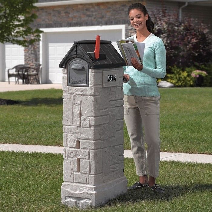 Residential Mailboxes Mailbox With Lock Post Mounted Locking Trap Door Storage #Step2