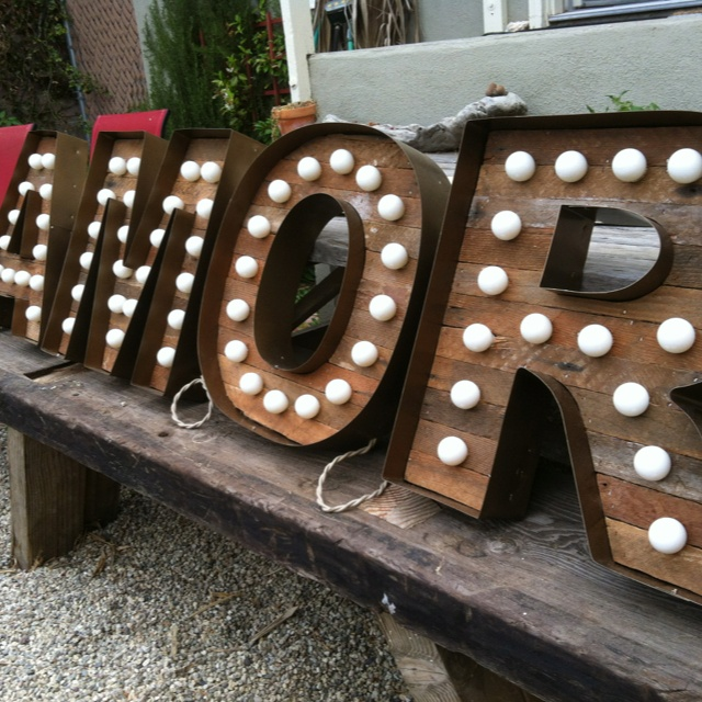 "18"" alphabet marquee lights by Scott Coppersmith Designs!  Antique bronze finish on the metal. Vintage cloth cord."