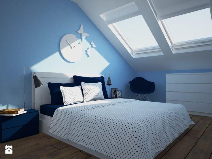 Niebieska sypialnia na poddaszu. - Sypialnia - Styl Nowoczesny - Carolineart
