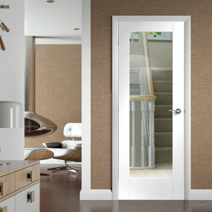 Pattern 10 White Primed Door with Clear Safety Glass. #whiteglazeddoor #internalwhiteglazeddoor #modernwhiteglazeddoor