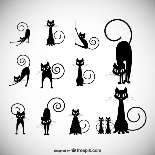 illustration vectorielle stock: noir collections silhouette de chat Vecteur gratuit