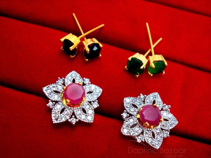 Daphne Cute SixInOne Changeable Zircon Earrings for Women - PINK