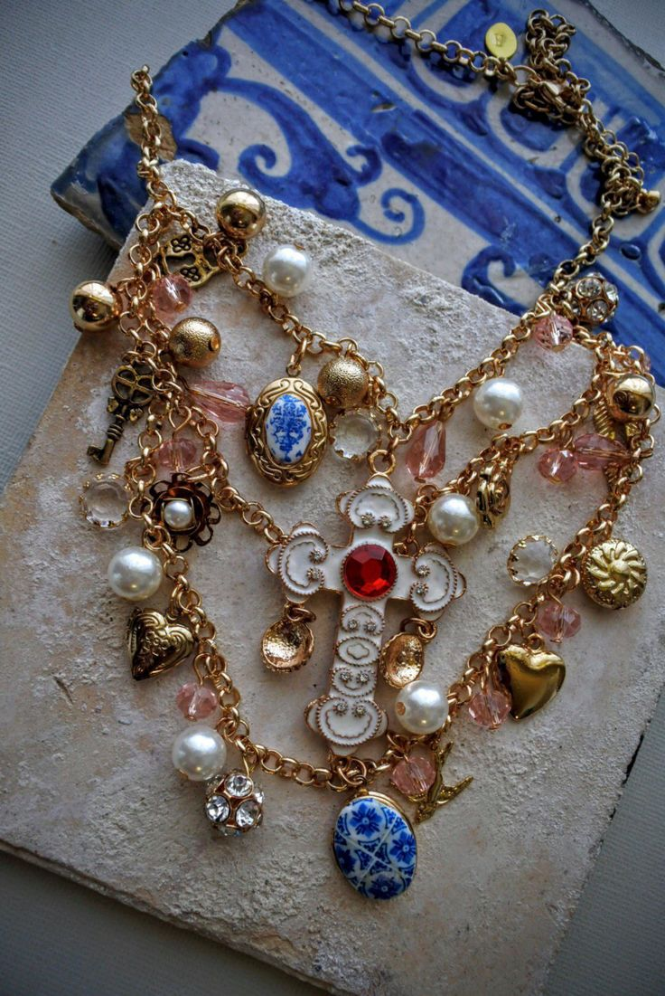 Portugal Antique Azulejo Tile NECKLACE with LOCKETS and CROSS - from Porto -Igreja Sao Nicolau 1671 Assemblage layered Eclectic Keepsake