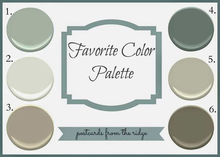 1. Tranquility AF-490   2. White Dove OC-17  3. Pashmina  AF-100  4. Night Train 1567  , 5. Revere Pewter HC-172   6. Sparrow