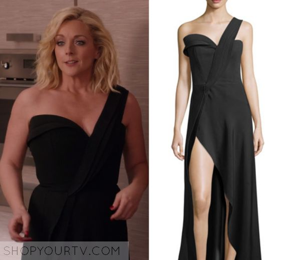 "Unbreakable Kimmy Schmidt: Season 3 Episode 3 Jacqueline's Black Dress | Shop Your TV Jacqueline Voorhees (Jane Krakowski) wears this black off/one shoulder split leg gown in this episode of Unbreakable Kimmy Schmidt, ""Kimmy Can't Help You!"".  It is the Brandon Maxwell One-Shoulder High-Slit Crepe Gown"
