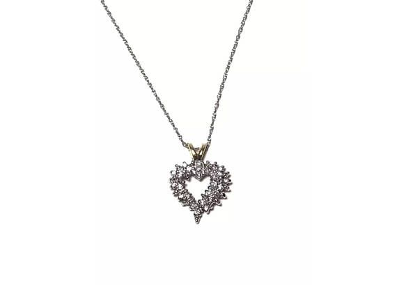 10k Gold .13 Carat Diamond Heart Pendant Necklace Signed VA