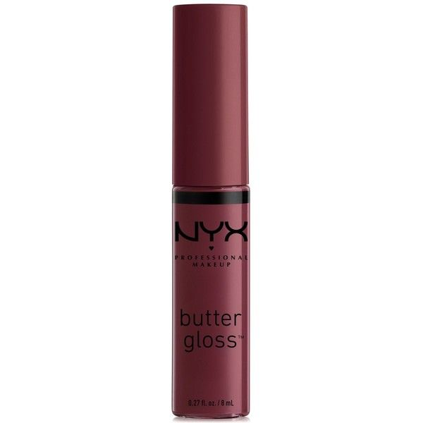 Nyx Professional Makeup Butter Lip Gloss ($5) ❤ liked on Polyvore featuring beauty products, makeup, lip makeup, lip gloss, devils food cake, nyx lipgloss, nyx lip gloss and nyx