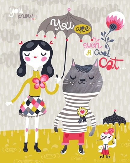 such a cool cat - limited edition giclee print of an original illustration (8 x 10 in)