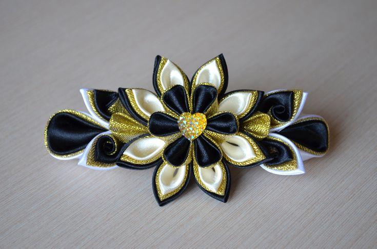 Заколка из лент канзаши Мастер класс атласные цветы DIY kanzashi hairclip handmade hair ornaments 發飾
