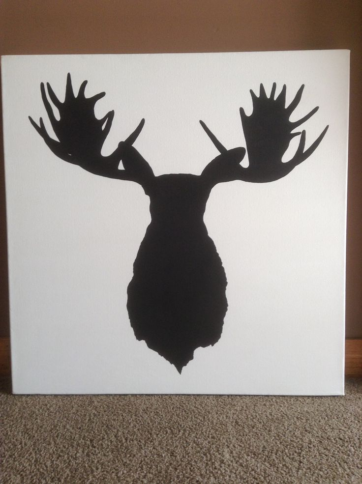 Hand painted moose head on canvas. By Kylie Bailey.