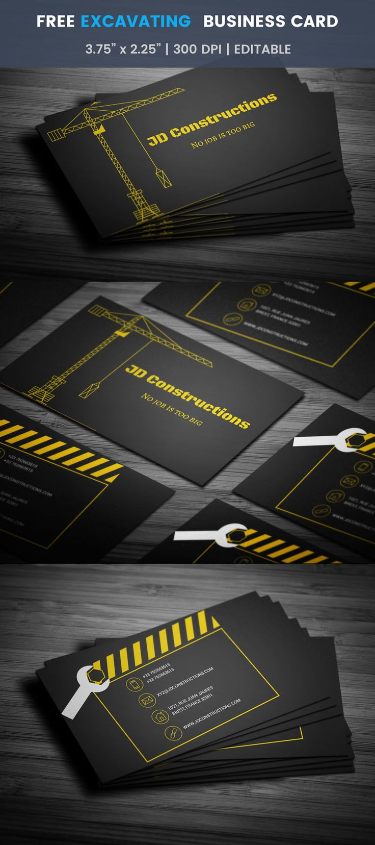 Excavating Business Card - Full Preview