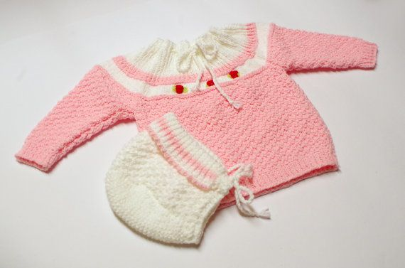 Baby sweater and hat set with embroidered roses, pink, 4 to 6 months