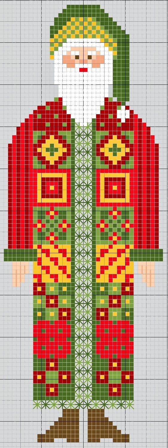 Image result for cross stitch patterns for primitive santas
