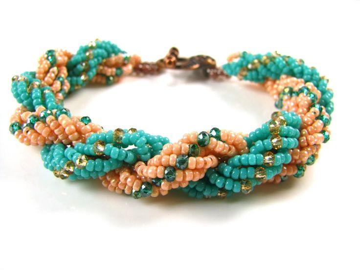 How to make a double spiral rope bracelet  ~ Seed Bead Tutorials